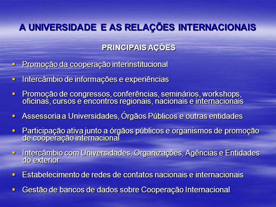 A UNIVERSIDADE E AS RELAÇÕES INTERNACIONAIS PRINCIPAIS AÇÕES PRINCIPAIS AÇÕES Promoção da cooperação interinstitucional Promoção da cooperação interinstitucional Intercâmbio de informações e experiências Intercâmbio de informações e experiências Promoção de congressos, conferências, seminários, workshops, Promoção de congressos, conferências, seminários, workshops, oficinas, cursos e encontros regionais, nacionais e internacionais oficinas, cursos e encontros regionais, nacionais e internacionais Assessoria a Universidades, Órgãos Públicos e outras entidades Assessoria a Universidades, Órgãos Públicos e outras entidades Participação ativa junto a órgãos públicos e organismos de promoção Participação ativa junto a órgãos públicos e organismos de promoção de cooperação internacional de cooperação internacional Intercâmbio com Universidades, Organizações, Agências e Entidades Intercâmbio com Universidades, Organizações, Agências e Entidades do exterior do exterior Estabelecimento de redes de contatos nacionais e internacionais Estabelecimento de redes de contatos nacionais e internacionais Gestão de bancos de dados sobre Cooperação Internacional Gestão de bancos de dados sobre Cooperação Internacional