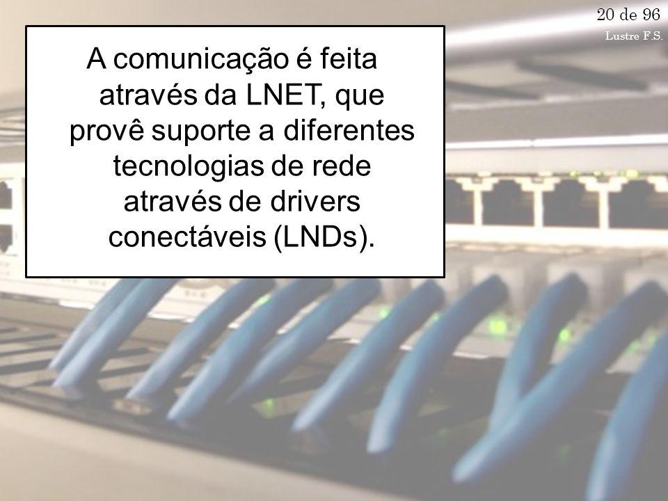 A comunicação é feita através da LNET, que provê suporte a diferentes tecnologias de rede através de drivers conectáveis (LNDs).