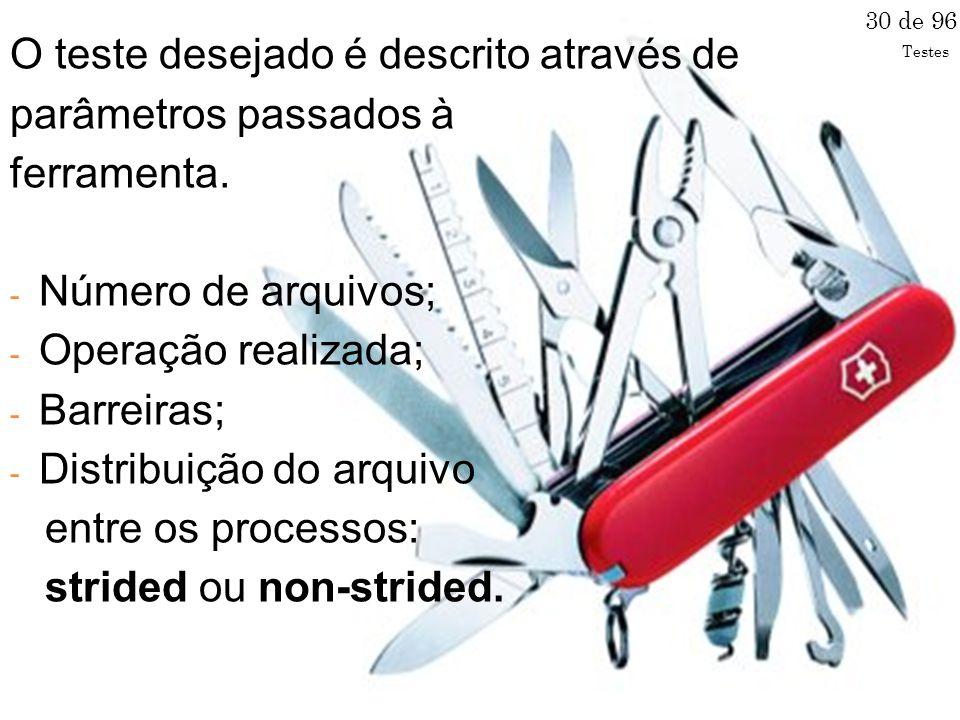 O teste desejado é descrito através de parâmetros passados à ferramenta.