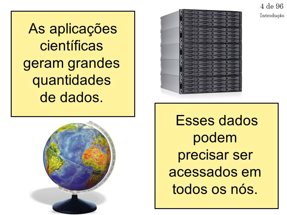As aplicações científicas geram grandes quantidades de dados.