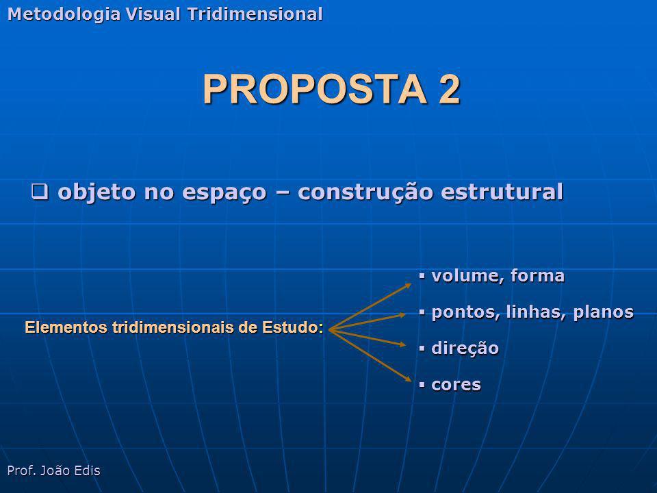 PROPOSTA 2 Metodologia Visual Tridimensional Elementos tridimensionais de Estudo: volume, forma volume, forma pontos, linhas, planos pontos, linhas, p