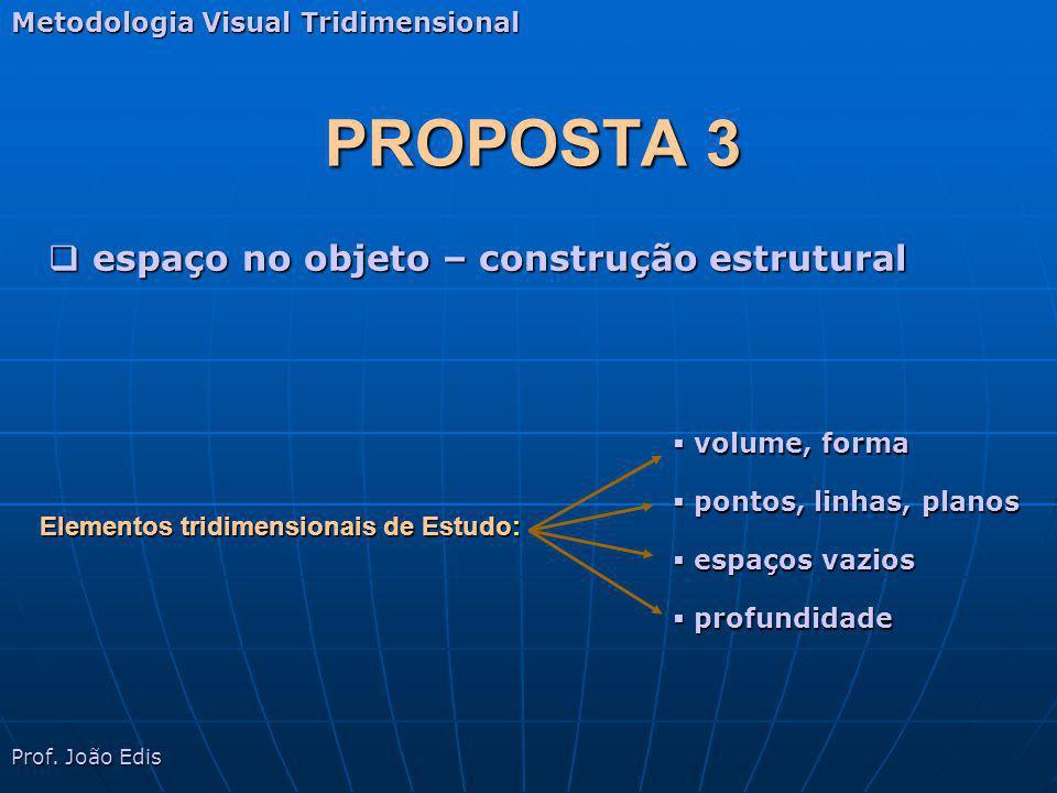PROPOSTA 3 Metodologia Visual Tridimensional Elementos tridimensionais de Estudo: volume, forma volume, forma pontos, linhas, planos pontos, linhas, p