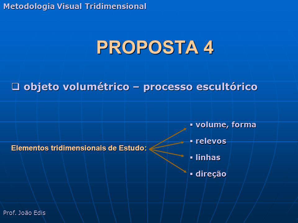 PROPOSTA 4 Metodologia Visual Tridimensional objeto volumétrico – escultura objeto volumétrico – escultura Prof.
