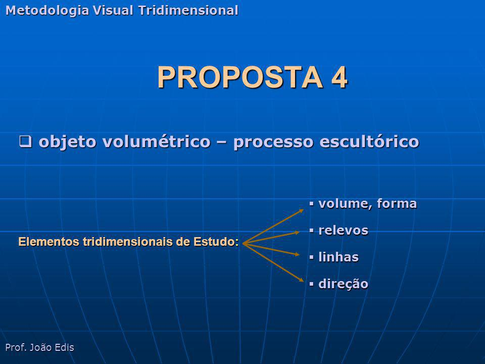 PROPOSTA 4 Metodologia Visual Tridimensional objeto volumétrico – processo escultórico objeto volumétrico – processo escultórico Elementos tridimensio