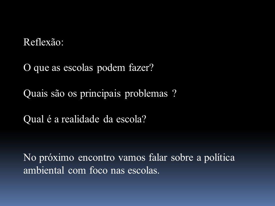 Reflexão: O que as escolas podem fazer? Quais são os principais problemas ? Qual é a realidade da escola? No próximo encontro vamos falar sobre a polí