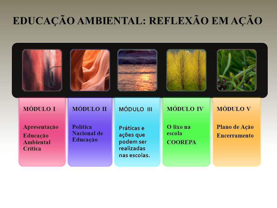 MÓDULO I Apresentação Educação Ambiental Crítica MÓDULO II Política Nacional de Educação MÓDULO III Práticas e ações que podem ser realizadas nas esco