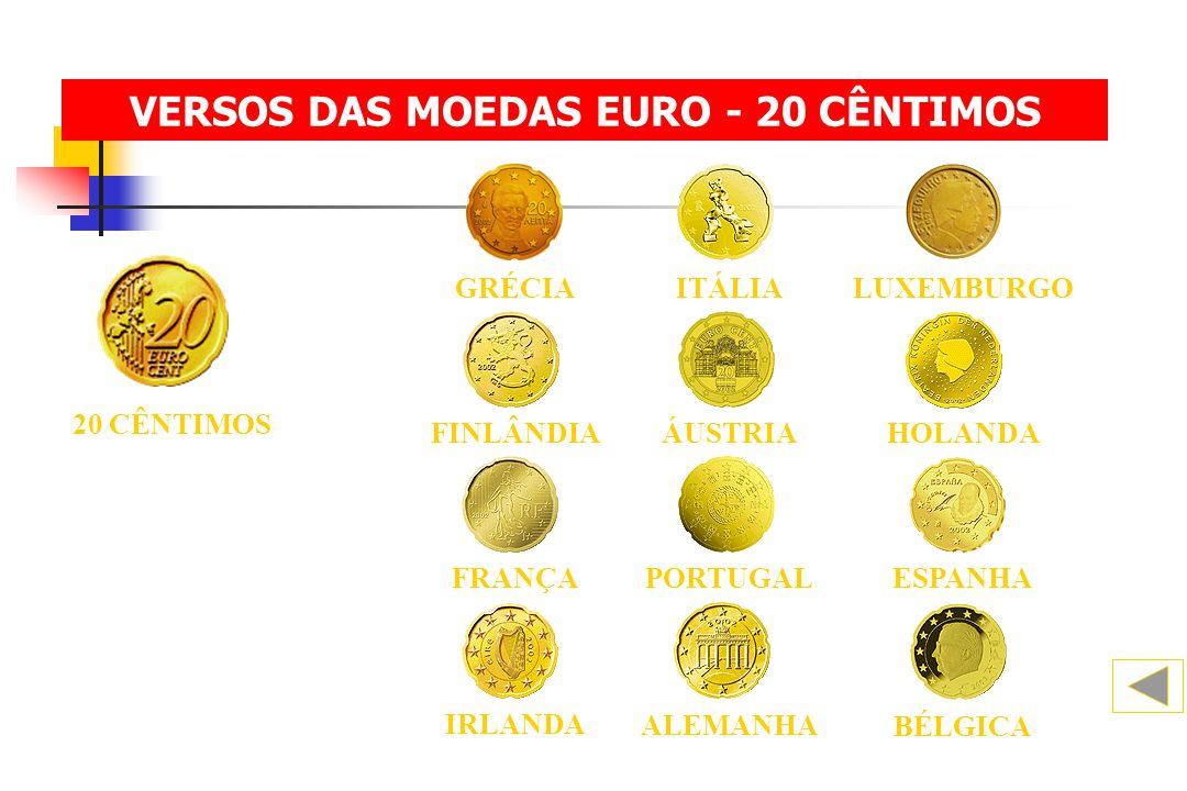 20 CÊNTIMOS BÉLGICA ALEMANHA IRLANDA FINLÂNDIAHOLANDAÁUSTRIA ESPANHA FRANÇAPORTUGAL ITÁLIALUXEMBURGOGRÉCIA VERSOS DAS MOEDAS EURO - 20 CÊNTIMOS