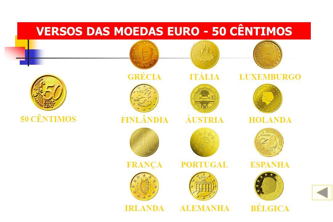 50 CÊNTIMOS BÉLGICA ALEMANHA IRLANDA FINLÂNDIAHOLANDAÁUSTRIA ESPANHA FRANÇAPORTUGAL ITÁLIALUXEMBURGOGRÉCIA VERSOS DAS MOEDAS EURO - 50 CÊNTIMOS