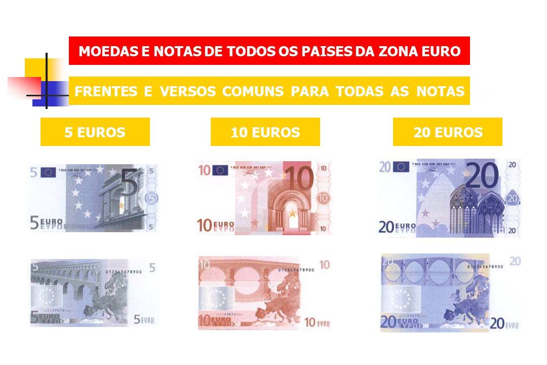 MOEDAS E NOTAS DE TODOS OS PAISES DA ZONA EURO FRENTES E VERSOS COMUNS PARA TODAS AS NOTAS 5 EUROS10 EUROS20 EUROS