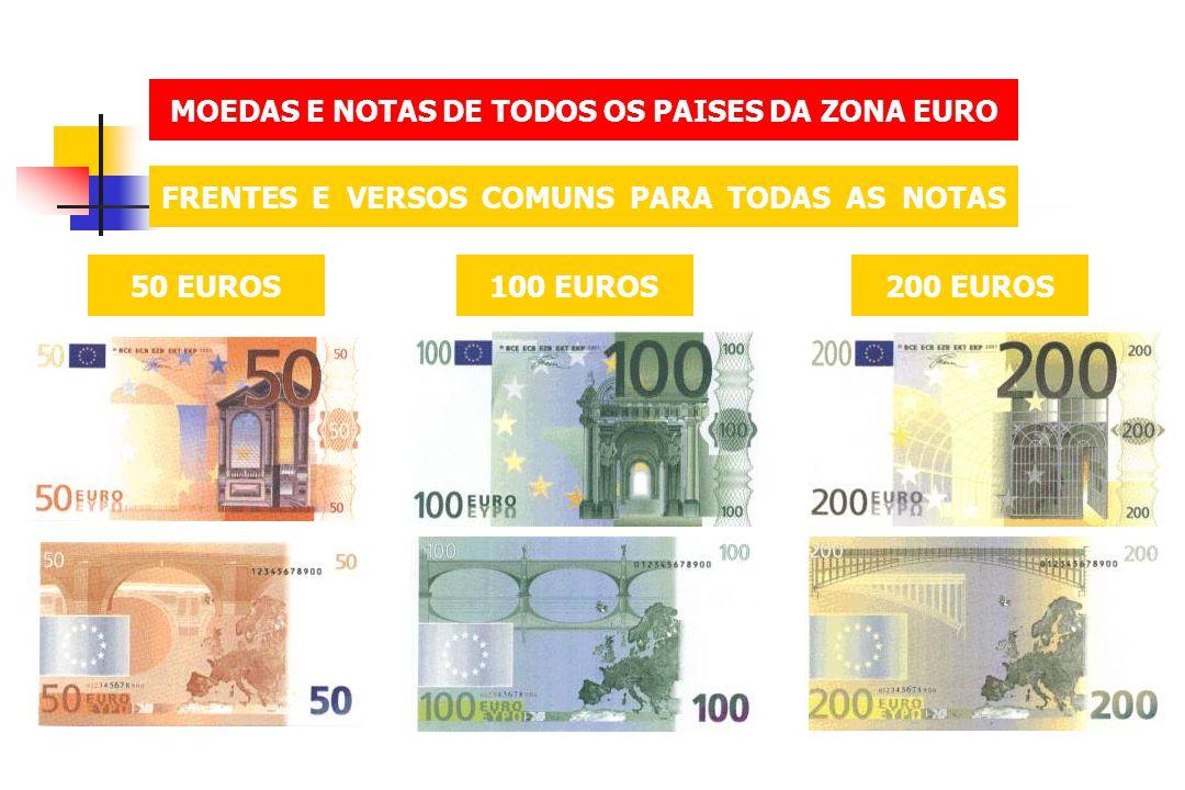 MOEDAS E NOTAS DE TODOS OS PAISES DA ZONA EURO FRENTES E VERSOS COMUNS PARA TODAS AS NOTAS 50 EUROS100 EUROS200 EUROS