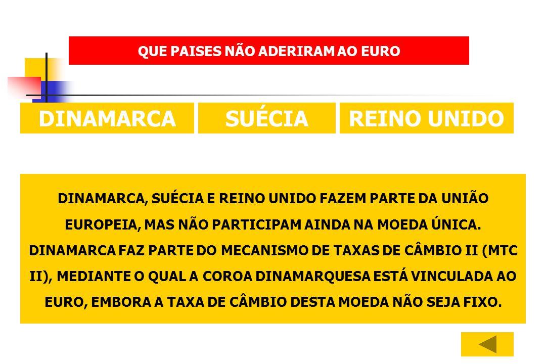 DINAMARCA, SUÉCIA E REINO UNIDO FAZEM PARTE DA UNIÃO EUROPEIA, MAS NÃO PARTICIPAM AINDA NA MOEDA ÚNICA. DINAMARCA FAZ PARTE DO MECANISMO DE TAXAS DE C