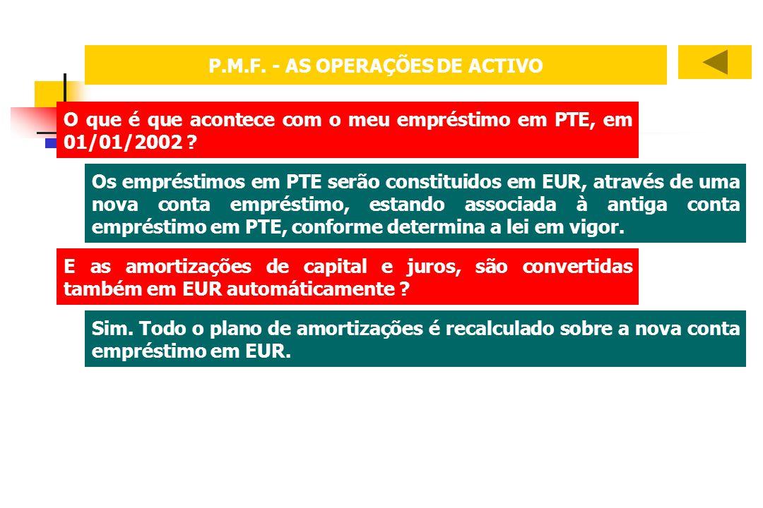 P.M.F. - AS OPERAÇÕES DE ACTIVO O que é que acontece com o meu empréstimo em PTE, em 01/01/2002 ? Os empréstimos em PTE serão constituidos em EUR, atr