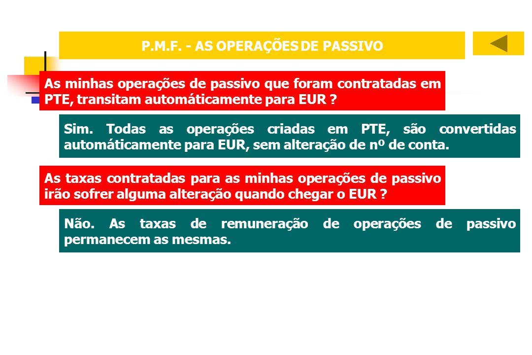 P.M.F. - AS OPERAÇÕES DE PASSIVO As minhas operações de passivo que foram contratadas em PTE, transitam automáticamente para EUR ? Sim. Todas as opera
