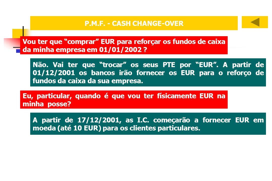 Vou ter que comprar EUR para reforçar os fundos de caixa da minha empresa em 01/01/2002 ? Não. Vai ter que trocar os seus PTE por EUR. A partir de 01/