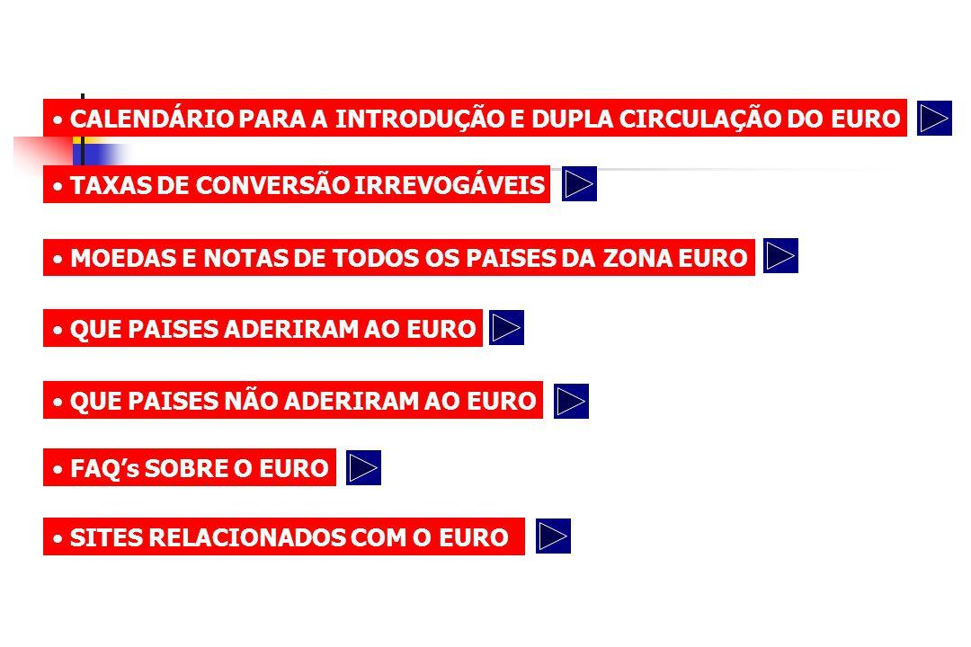CALENDÁRIO DO EURO 01/09/0131/12/02 DISPONIBILIZAÇÃO DE MOEDAS EM EUROS PARA AS INSTITUIÇÕES DE CRÉDITO (01/SET/01) DISPONIBILIZAÇÃO DE NOTAS EM EUROS PARA AS INSTITUIÇÕES DE CRÉDITO (01/OUT/01) DISPONIBILIZAÇÃO DE EUROS PARA RETALHISTAS - PARA FUNDOS DE CAIXAS (01/DEZ/01) DISPONIBILIZAÇÃO DE EUROS PARA PARTICULARES - ATÉ 10 EUROS (17/DEZ/01) 01/10/01 01/12/01 17/12/01
