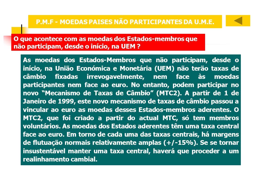 O que acontece com as moedas dos Estados-membros que não participam, desde o início, na UEM ? As moedas dos Estados-Membros que não participam, desde