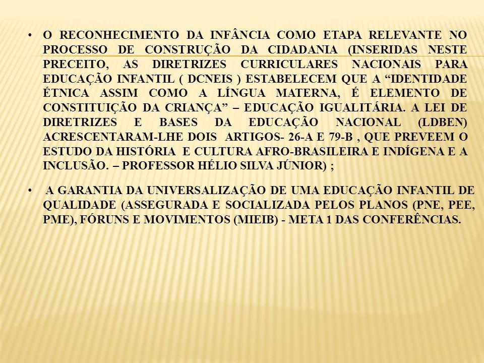 O RECONHECIMENTO DA INFÂNCIA COMO ETAPA RELEVANTE NO PROCESSO DE CONSTRUÇÃO DA CIDADANIA (INSERIDAS NESTE PRECEITO, AS DIRETRIZES CURRICULARES NACIONA