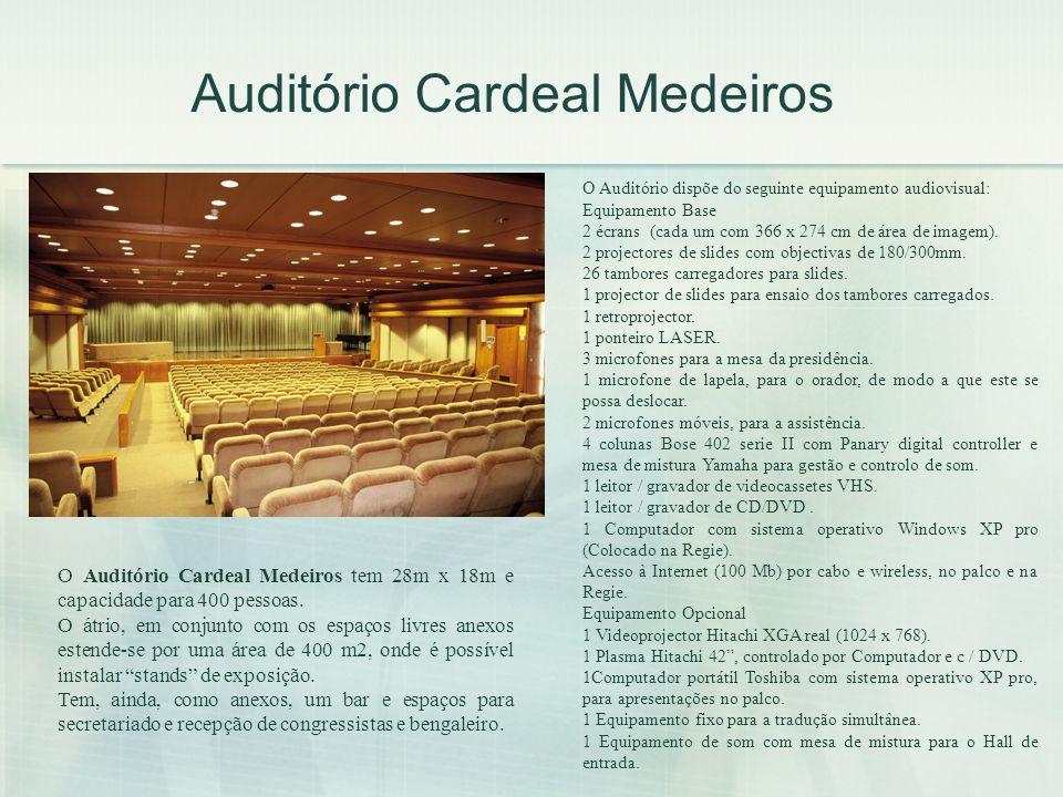 Auditório Cardeal Medeiros O Auditório Cardeal Medeiros tem 28m x 18m e capacidade para 400 pessoas. O átrio, em conjunto com os espaços livres anexos