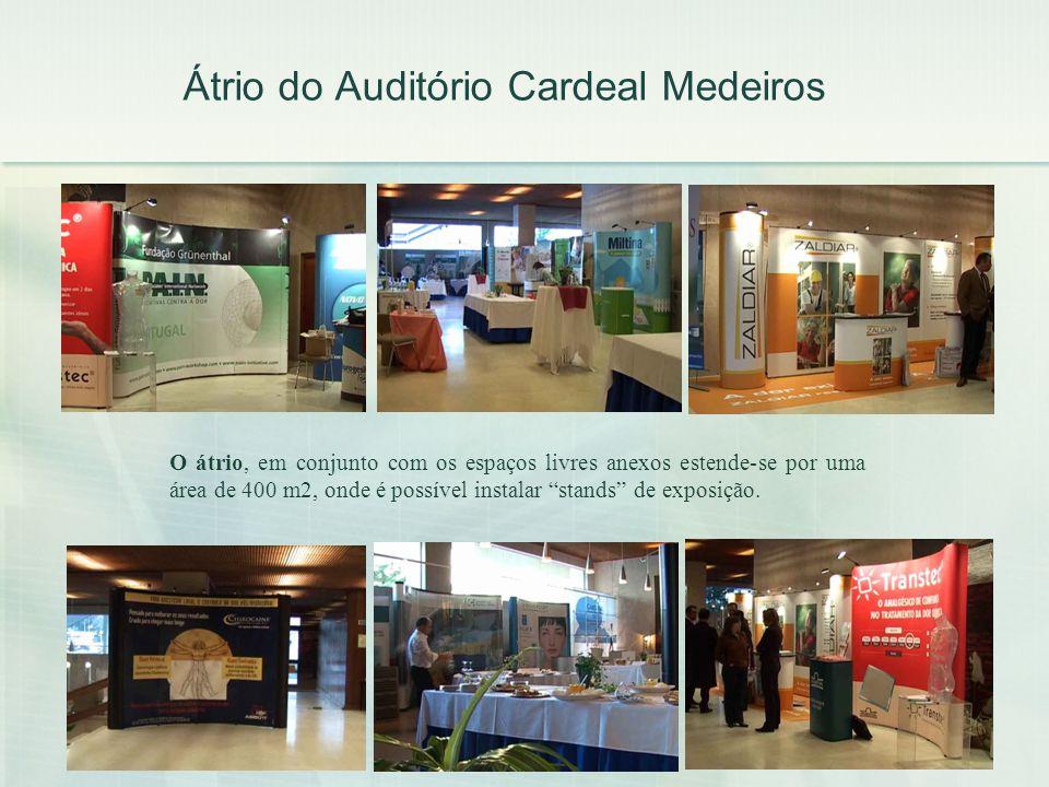 Átrio do Auditório Cardeal Medeiros O átrio, em conjunto com os espaços livres anexos estende-se por uma área de 400 m2, onde é possível instalar stan