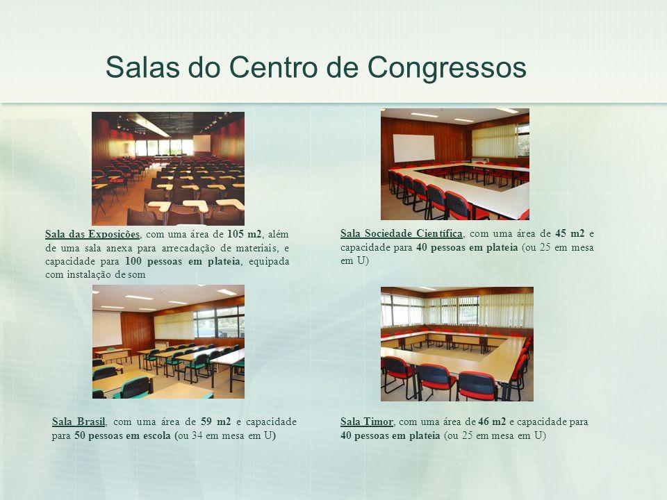Salas do Centro de Congressos Sala Brasil, com uma área de 59 m2 e capacidade para 50 pessoas em escola (ou 34 em mesa em U) Sala das Exposições, com