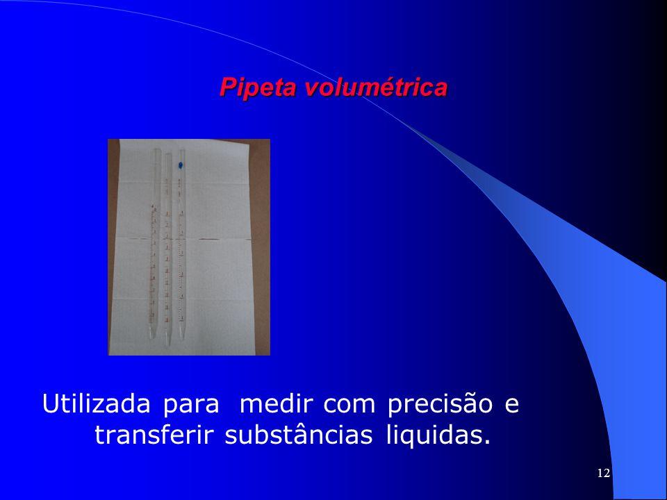 12 Pipeta volumétrica Utilizada para medir com precisão e transferir substâncias liquidas.