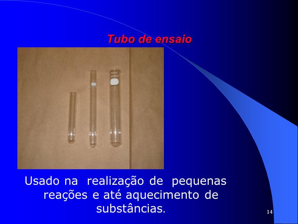 14 Tubo de ensaio Usado na realização de pequenas reações e até aquecimento de substâncias.