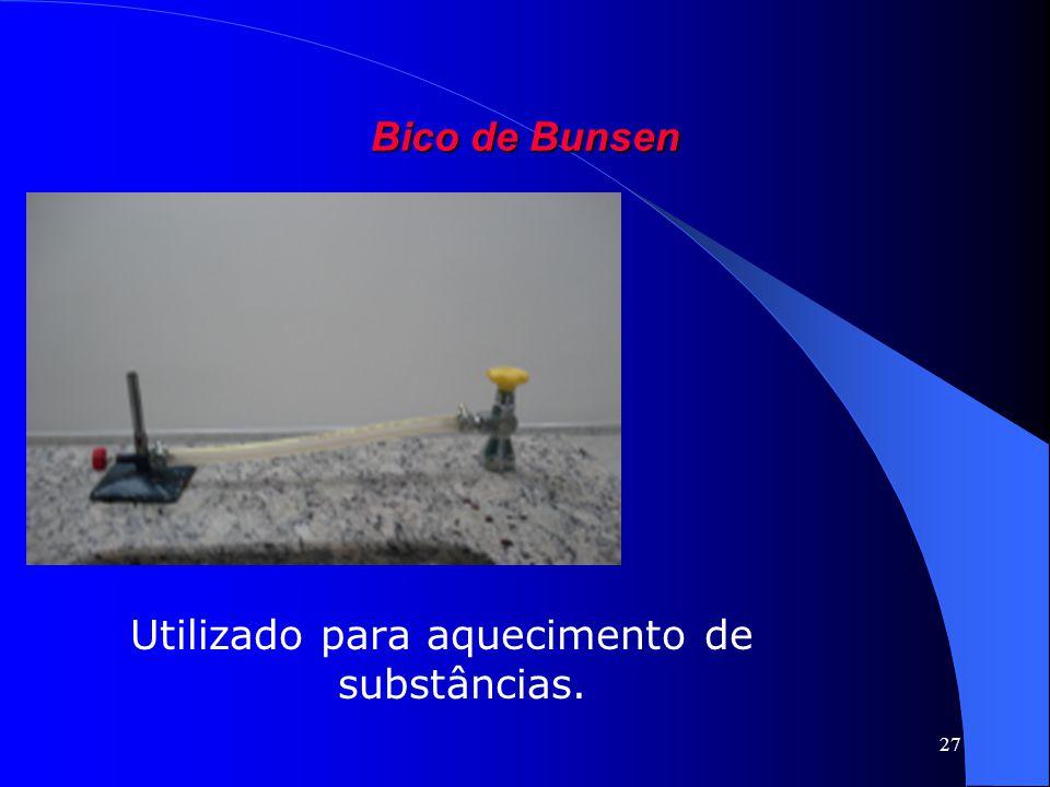 27 Bico de Bunsen Utilizado para aquecimento de substâncias.