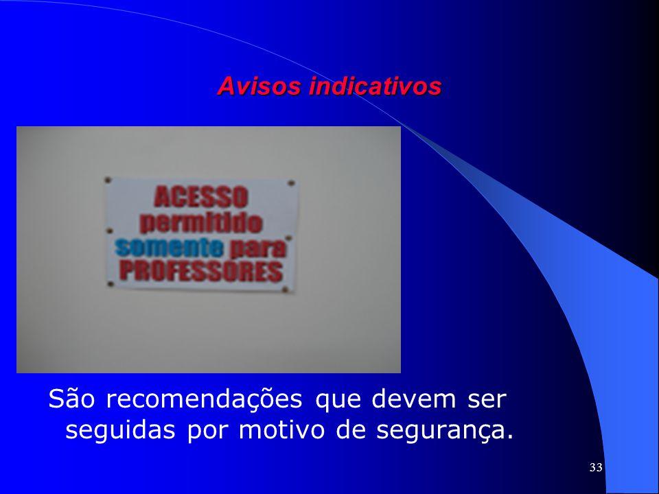 33 Avisos indicativos São recomendações que devem ser seguidas por motivo de segurança.