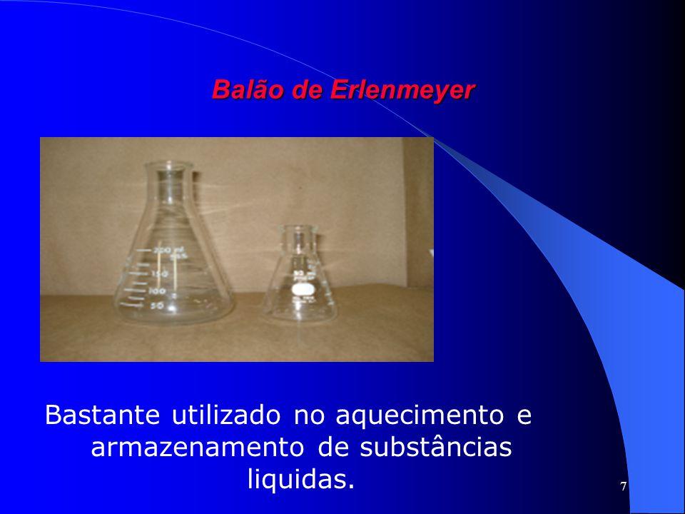 7 Balão de Erlenmeyer Bastante utilizado no aquecimento e armazenamento de substâncias liquidas.