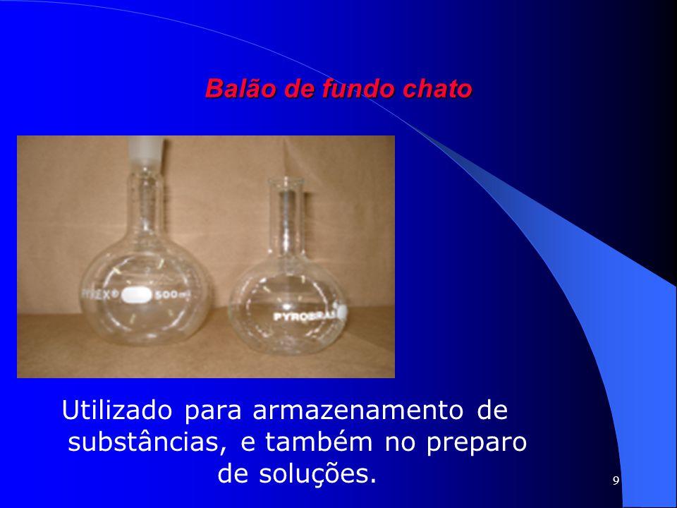 9 Balão de fundo chato Utilizado para armazenamento de substâncias, e também no preparo de soluções.