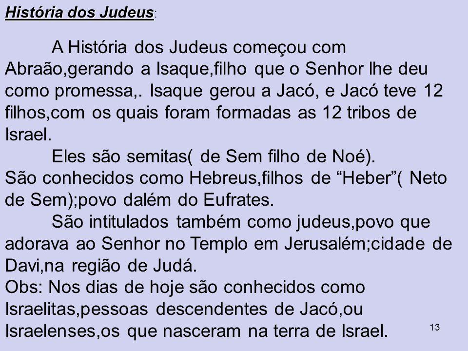 13 História dos Judeus História dos Judeus : A História dos Judeus começou com Abraão,gerando a Isaque,filho que o Senhor lhe deu como promessa,.