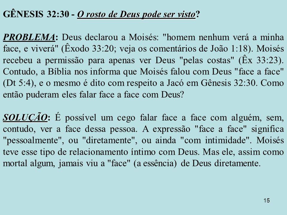 15 O rosto de Deus pode ser visto GÊNESIS 32:30 - O rosto de Deus pode ser visto.