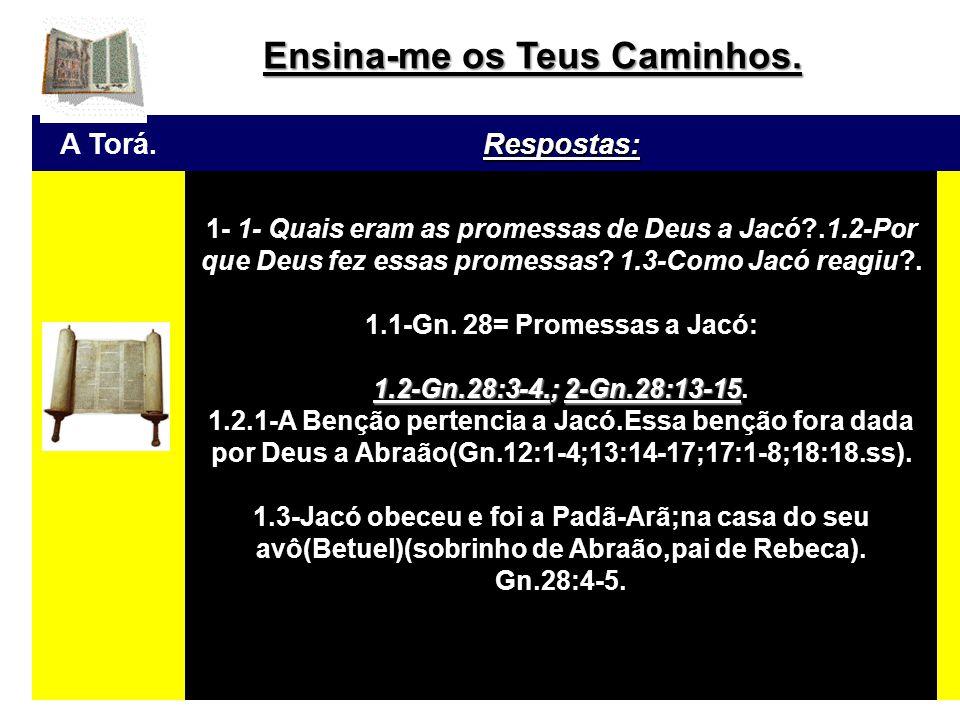 A Torá.Respostas: Cont.: 1.2-A Benção pertencia a Jacó.Essa benção fora dada por Deus a Abraão(Gn.12:1-4;13:14-17;17:1-8;18:18.ss).Del foi transmitida para Isaque(Gn.26:4-5);e agora,de Isaque para jacó.