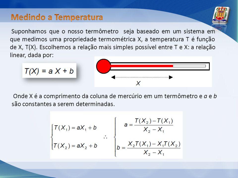 Suponhamos que o nosso termômetro seja baseado em um sistema em que medimos uma propriedade termométrica X, a temperatura T é função de X, T(X). Escol