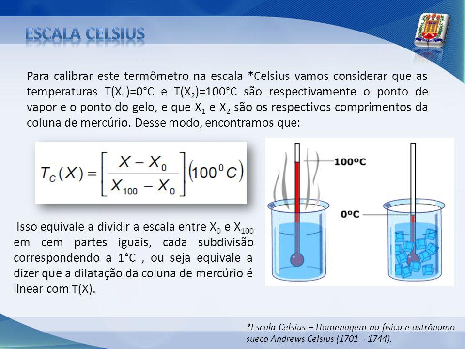 Para calibrar este termômetro na escala *Celsius vamos considerar que as temperaturas T(X 1 )=0°C e T(X 2 )=100°C são respectivamente o ponto de vapor