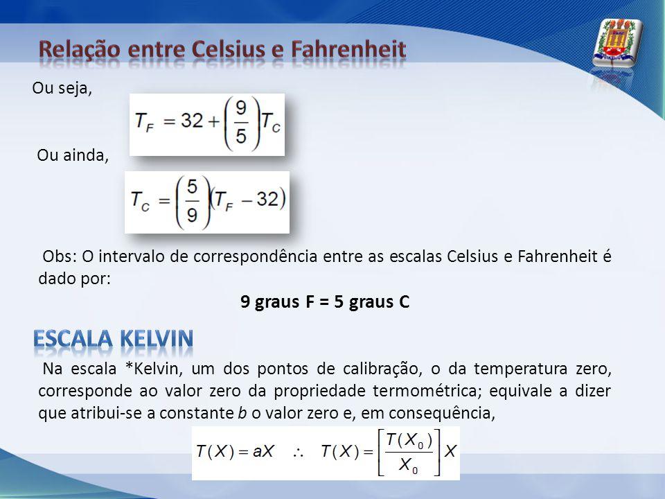 Na escala *Kelvin, um dos pontos de calibração, o da temperatura zero, corresponde ao valor zero da propriedade termométrica; equivale a dizer que atr