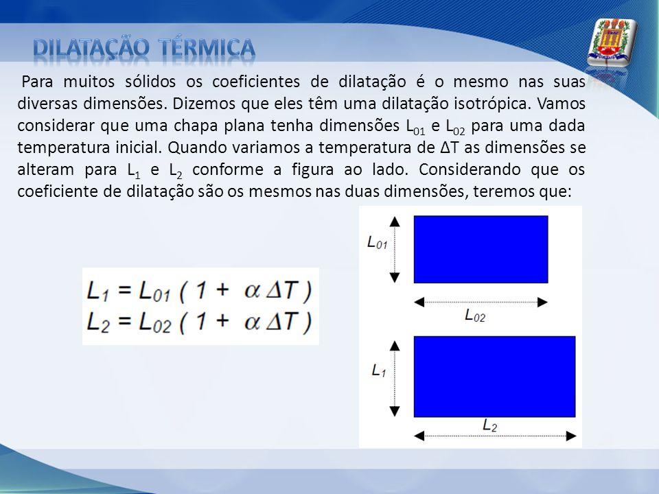 Para muitos sólidos os coeficientes de dilatação é o mesmo nas suas diversas dimensões. Dizemos que eles têm uma dilatação isotrópica. Vamos considera