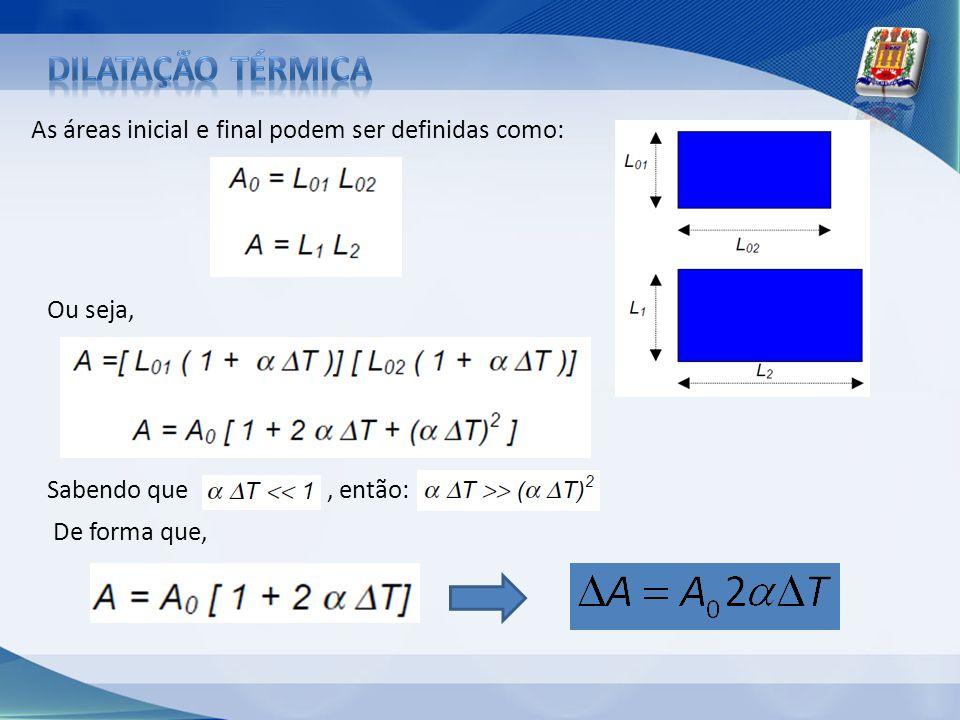 As áreas inicial e final podem ser definidas como: Ou seja, Sabendo que, então: De forma que,