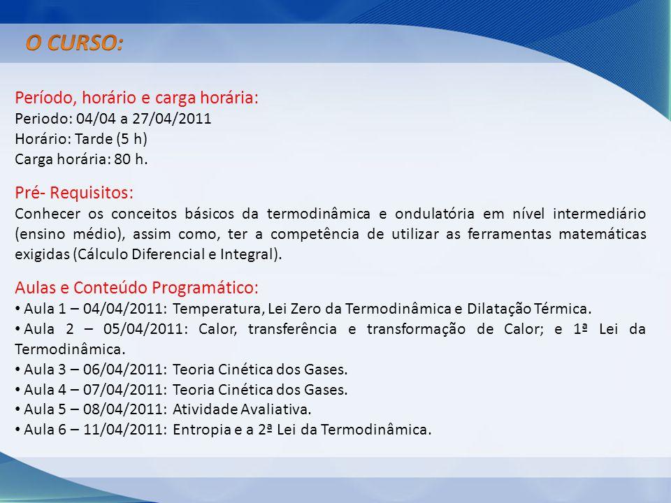 Período, horário e carga horária: Periodo: 04/04 a 27/04/2011 Horário: Tarde (5 h) Carga horária: 80 h. Pré- Requisitos: Conhecer os conceitos básicos
