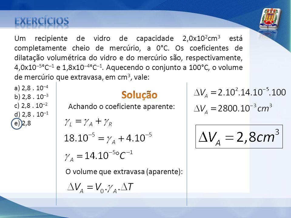 Um recipiente de vidro de capacidade 2,0x10 2 cm 3 está completamente cheio de mercúrio, a 0°C. Os coeficientes de dilatação volumétrica do vidro e do
