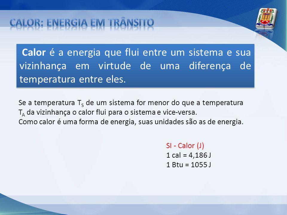 Calor é a energia que flui entre um sistema e sua vizinhança em virtude de uma diferença de temperatura entre eles. Se a temperatura T S de um sistema