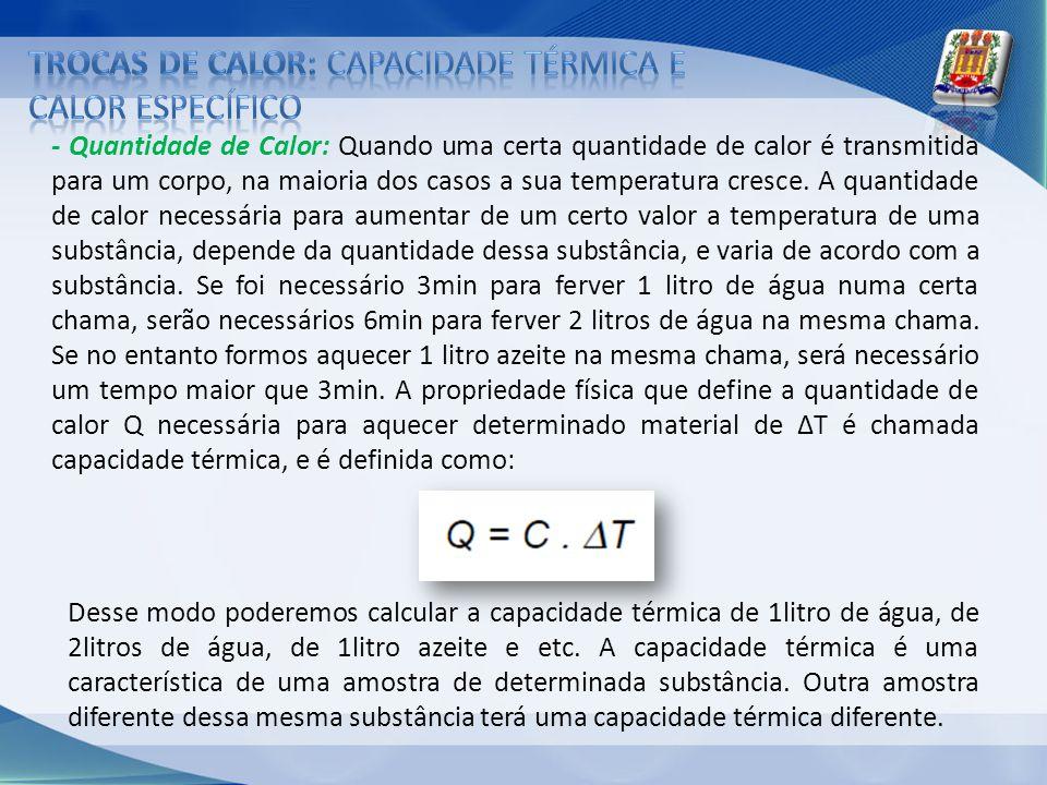 - Quantidade de Calor: Quando uma certa quantidade de calor é transmitida para um corpo, na maioria dos casos a sua temperatura cresce. A quantidade d