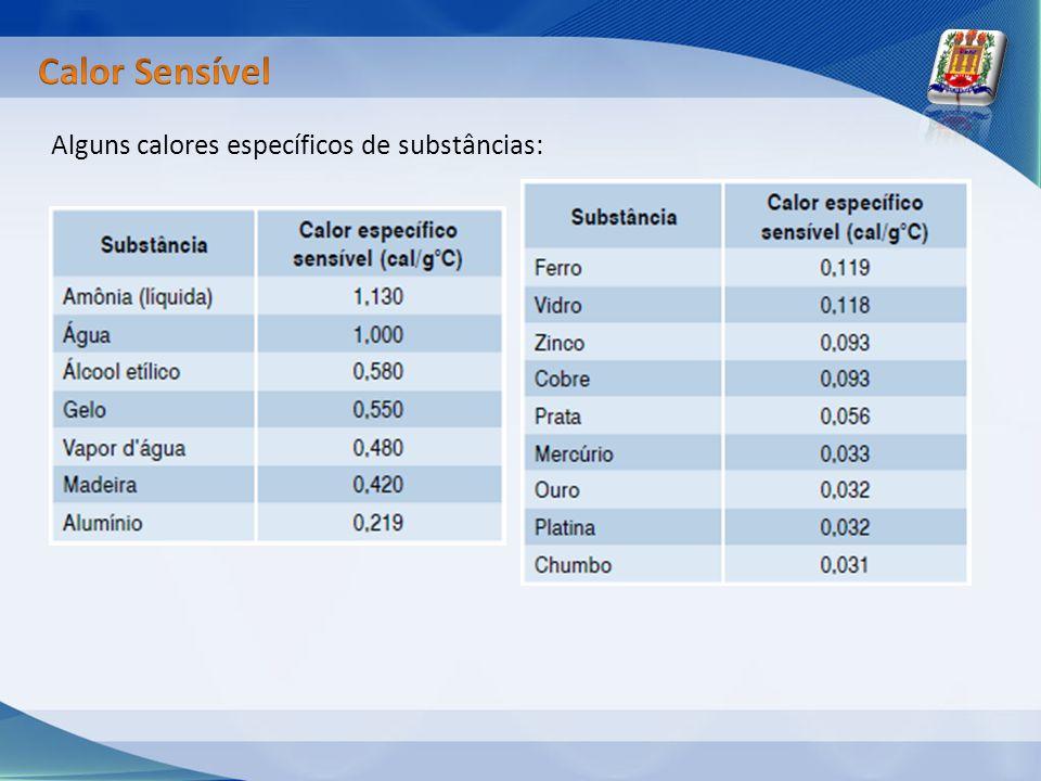 Alguns calores específicos de substâncias: