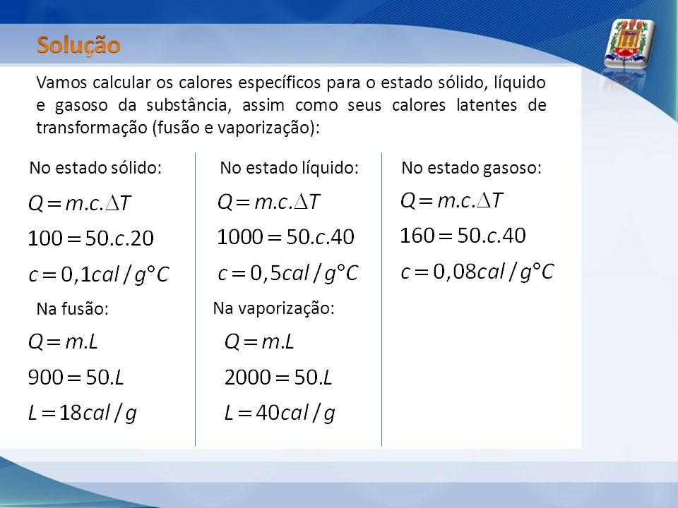 Vamos calcular os calores específicos para o estado sólido, líquido e gasoso da substância, assim como seus calores latentes de transformação (fusão e