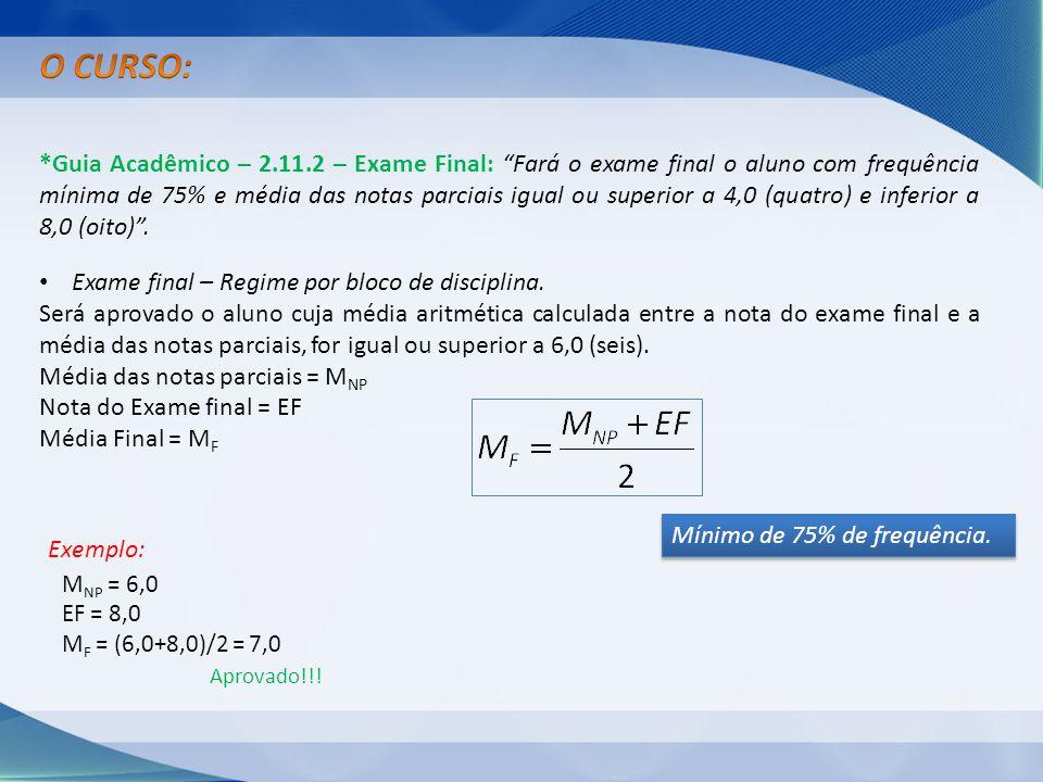 *Guia Acadêmico – 2.11.2 – Exame Final: Fará o exame final o aluno com frequência mínima de 75% e média das notas parciais igual ou superior a 4,0 (qu