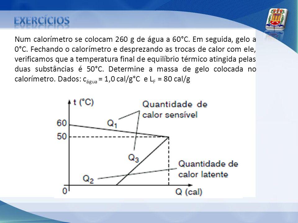 Num calorímetro se colocam 260 g de água a 60°C. Em seguida, gelo a 0°C. Fechando o calorímetro e desprezando as trocas de calor com ele, verificamos