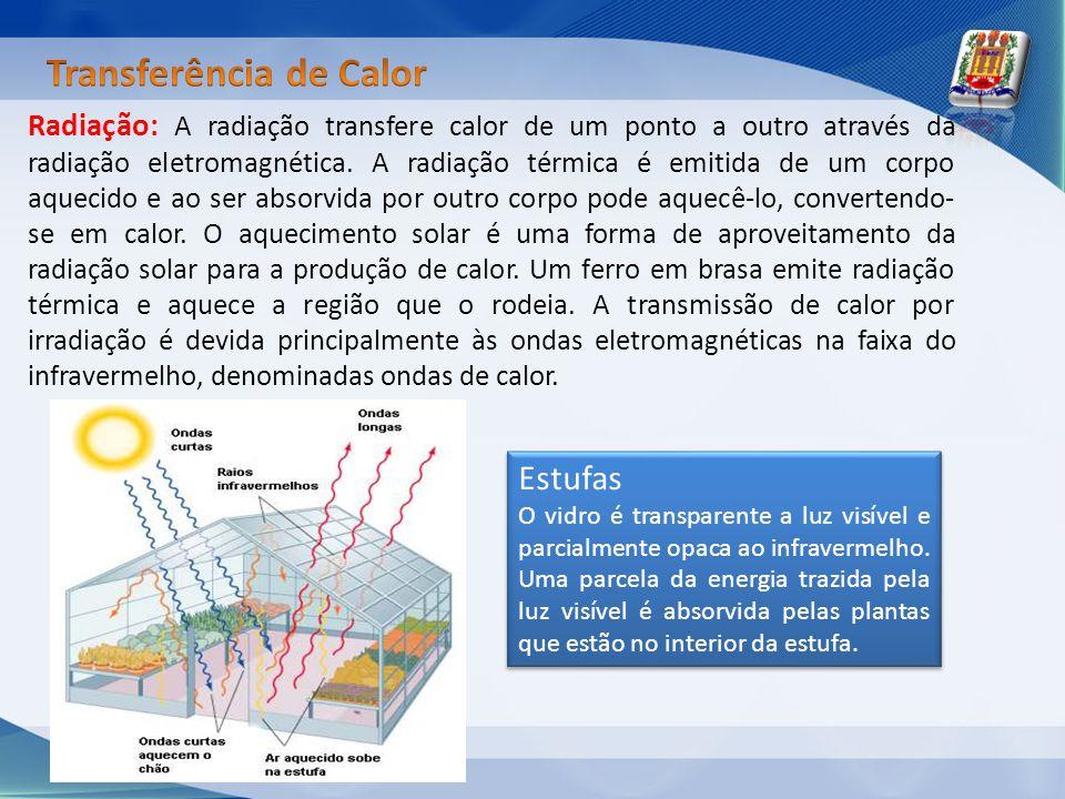 Radiação: A radiação transfere calor de um ponto a outro através da radiação eletromagnética. A radiação térmica é emitida de um corpo aquecido e ao s