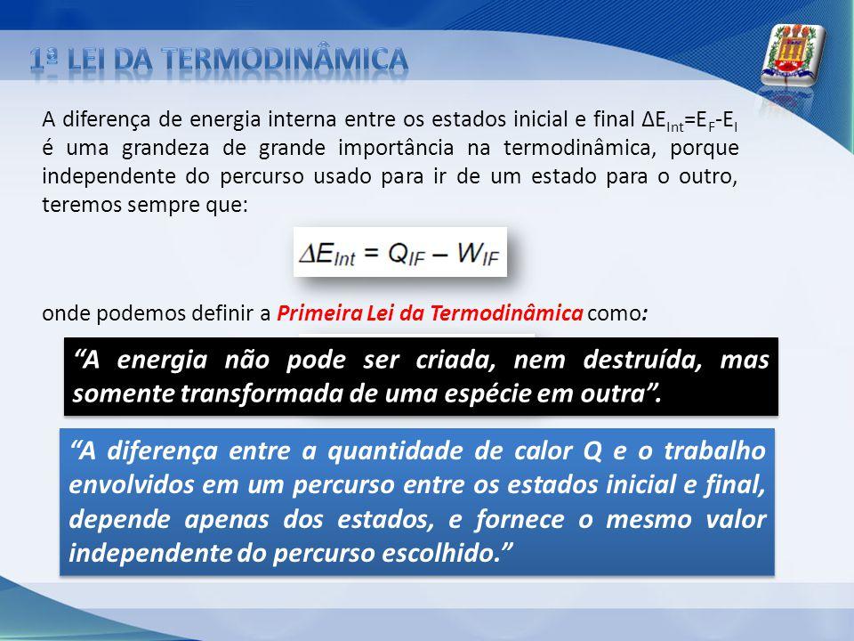 A diferença de energia interna entre os estados inicial e final ΔE Int =E F -E I é uma grandeza de grande importância na termodinâmica, porque indepen