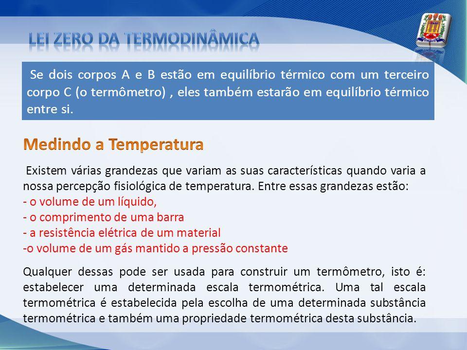 Se dois corpos A e B estão em equilíbrio térmico com um terceiro corpo C (o termômetro), eles também estarão em equilíbrio térmico entre si. Existem v