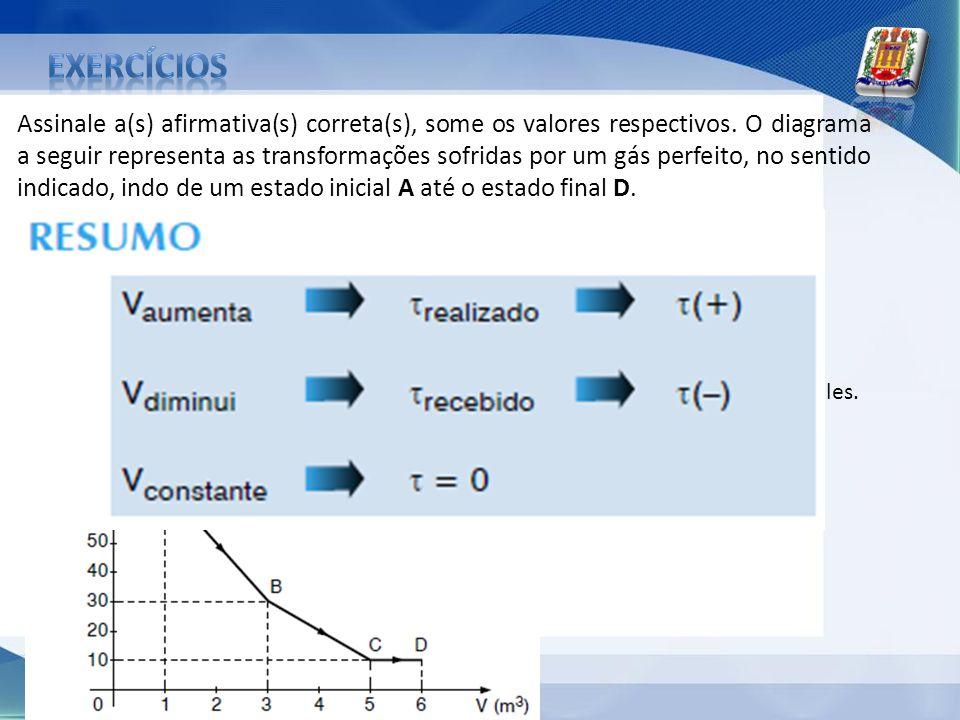 Assinale a(s) afirmativa(s) correta(s), some os valores respectivos. O diagrama a seguir representa as transformações sofridas por um gás perfeito, no